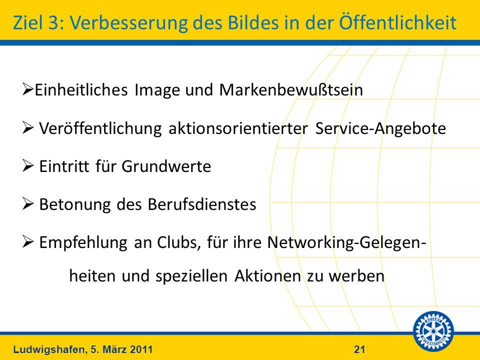 21Ludwigshafen, 5. März 2011 Ziel 3: Verbesserung des Bildes in der Öffentlichkeit Einheitliches Image und Markenbewußtsein Veröffentlichung aktionsor