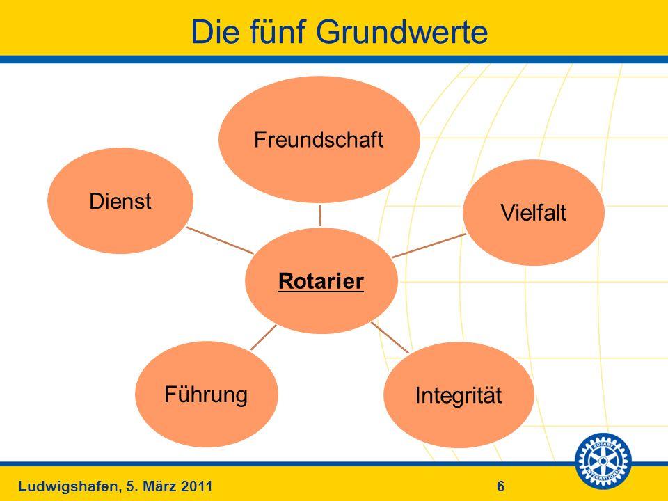 6Ludwigshafen, 5. März 2011 Die fünf Grundwerte Rotarier Freundschaft VielfaltIntegritätFührung Dienst