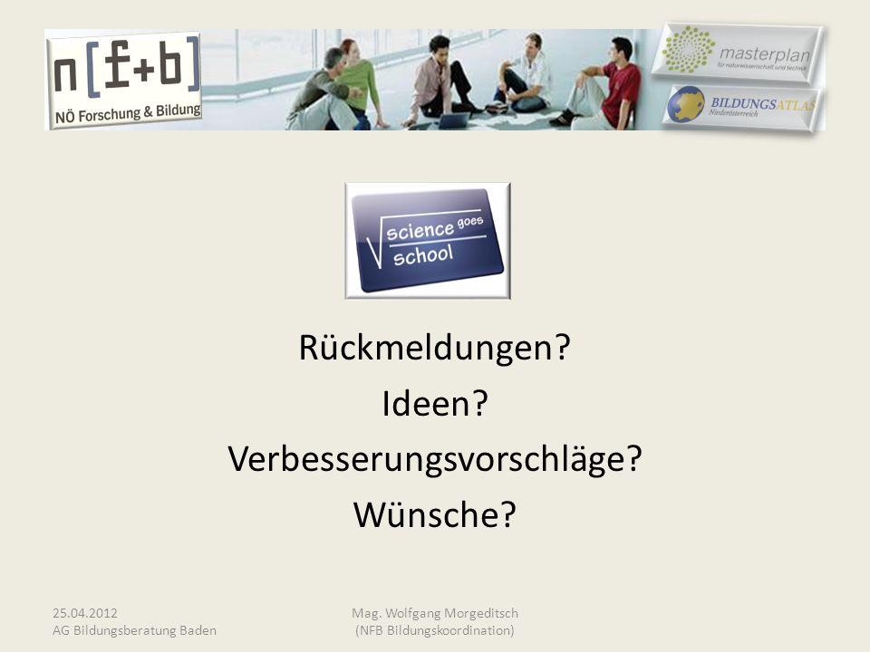 Rückmeldungen? Ideen? Verbesserungsvorschläge? Wünsche? 25.04.2012 AG Bildungsberatung Baden Mag. Wolfgang Morgeditsch (NFB Bildungskoordination)