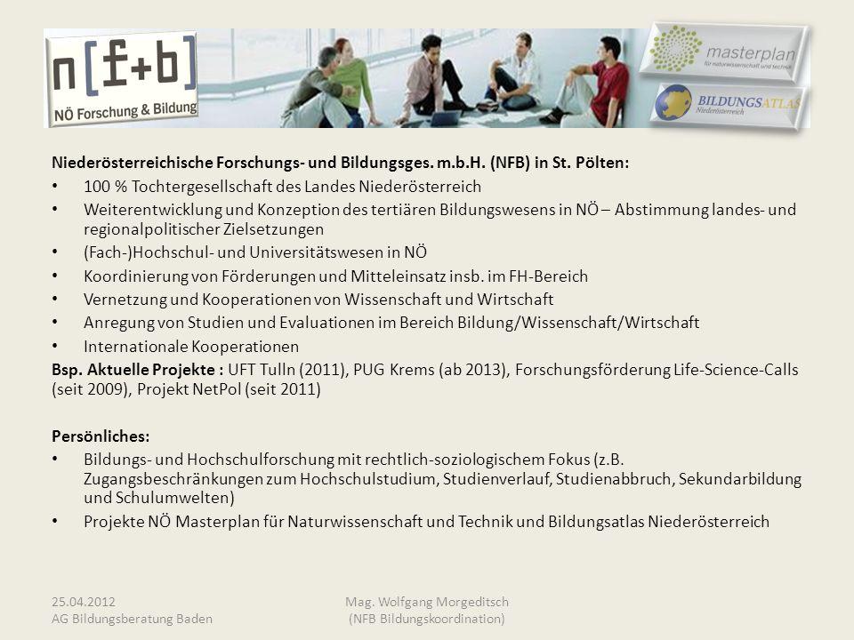 Niederösterreichische Forschungs- und Bildungsges. m.b.H. (NFB) in St. Pölten: 100 % Tochtergesellschaft des Landes Niederösterreich Weiterentwicklung