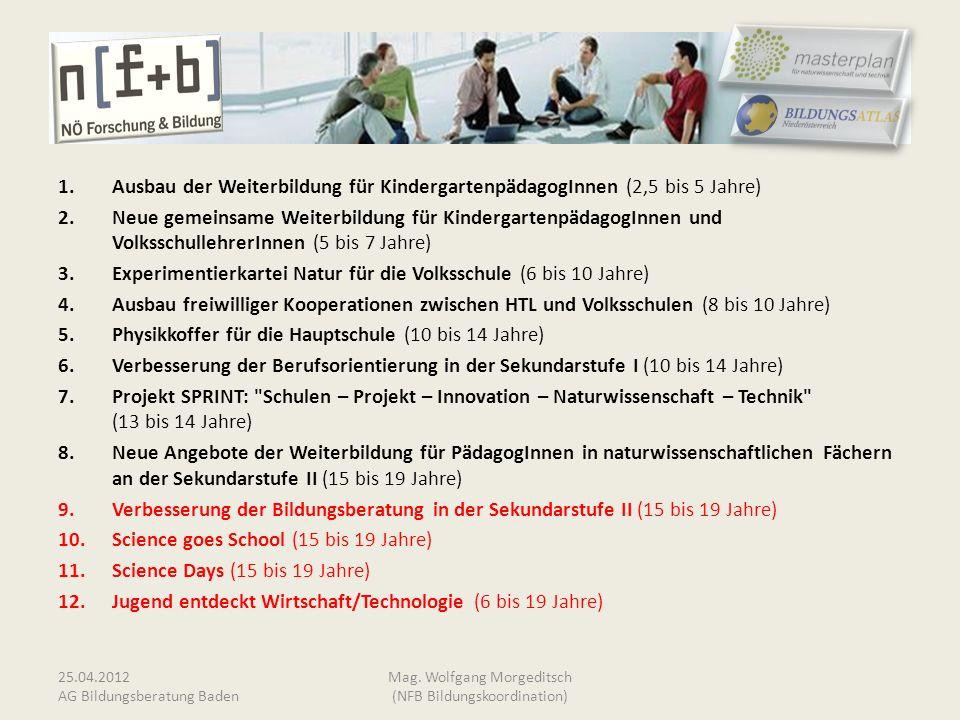 1.Ausbau der Weiterbildung für KindergartenpädagogInnen (2,5 bis 5 Jahre) 2.Neue gemeinsame Weiterbildung für KindergartenpädagogInnen und Volksschull