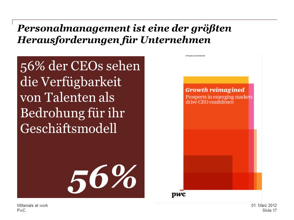 PwC Personalmanagement ist eine der größten Herausforderungen für Unternehmen Second line if required This placeholder text (20pt Georgia regular) is intended to show the correct position and size of the real text used in this location.