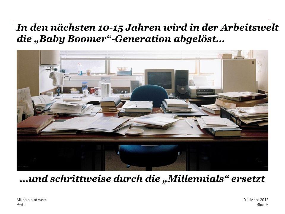 PwC In den nächsten 10-15 Jahren wird in der Arbeitswelt die Baby Boomer-Generation abgelöst… …und schrittweise durch die Millennials ersetzt Slide 6