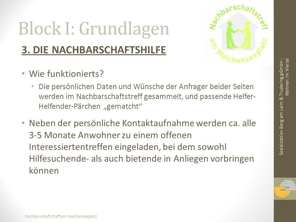 Nachbarschaftstreff am Walchenseeplatz Block I: Grundlagen 3. DIE NACHBARSCHAFTSHILFE Wie funktionierts? Die persönlichen Daten und Wünsche der Anfrag