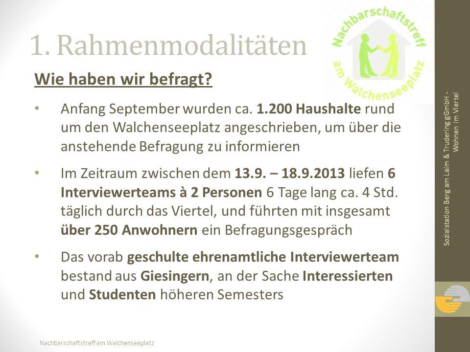 Nachbarschaftstreff am Walchenseeplatz 1. Rahmenmodalitäten Wie haben wir befragt? Anfang September wurden ca. 1.200 Haushalte rund um den Walchenseep