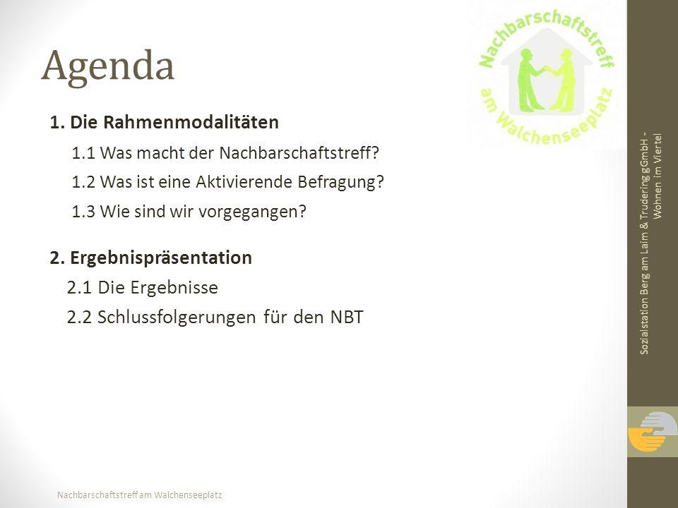 Nachbarschaftstreff am Walchenseeplatz Agenda 1. Die Rahmenmodalitäten 1.1 Was macht der Nachbarschaftstreff? 1.2 Was ist eine Aktivierende Befragung?