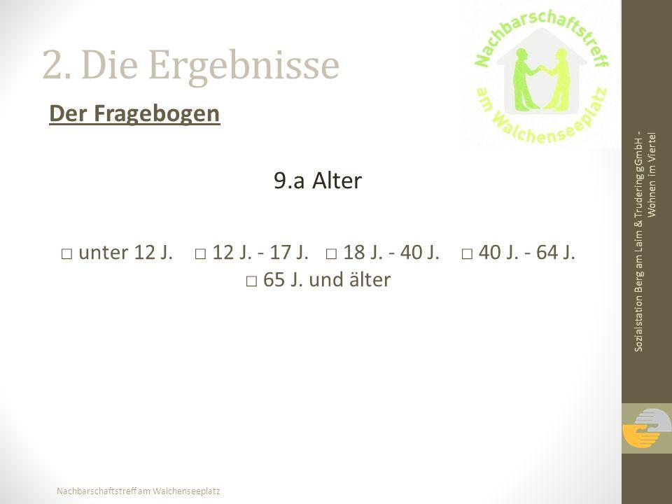 Nachbarschaftstreff am Walchenseeplatz 2. Die Ergebnisse Der Fragebogen 9.a Alter unter 12 J. 12 J. - 17 J. 18 J. - 40 J. 40 J. - 64 J. 65 J. und älte
