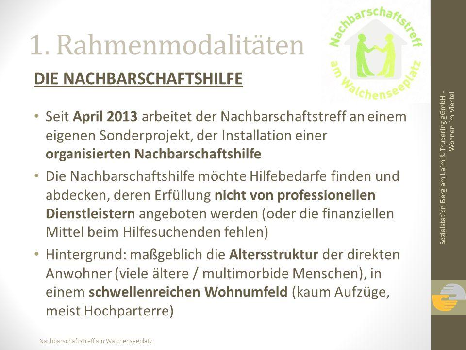 Nachbarschaftstreff am Walchenseeplatz 1. Rahmenmodalitäten DIE NACHBARSCHAFTSHILFE Seit April 2013 arbeitet der Nachbarschaftstreff an einem eigenen
