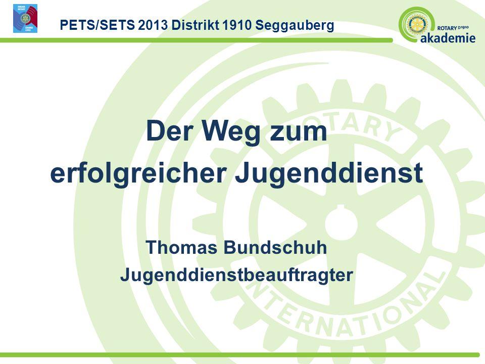 Der Weg zum erfolgreicher Jugenddienst Thomas Bundschuh Jugenddienstbeauftragter PETS/SETS 2013 Distrikt 1910 Seggauberg