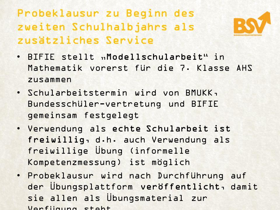 Probeklausur zu Beginn des zweiten Schulhalbjahrs als zusätzliches Service BIFIE stellt Modellschularbeit in Mathematik vorerst für die 7.