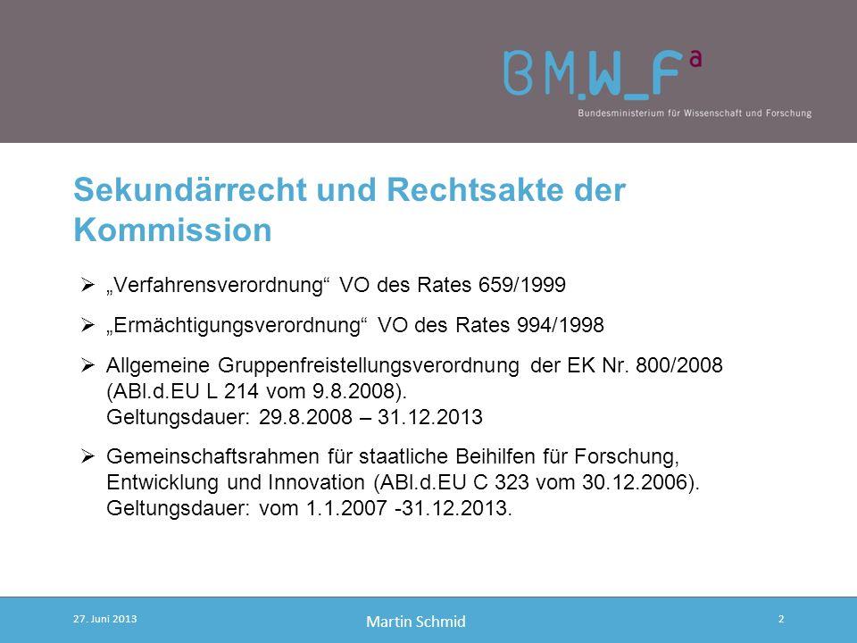 Martin Schmid Sekundärrecht und Rechtsakte der Kommission Verfahrensverordnung VO des Rates 659/1999 Ermächtigungsverordnung VO des Rates 994/1998 Allgemeine Gruppenfreistellungsverordnung der EK Nr.