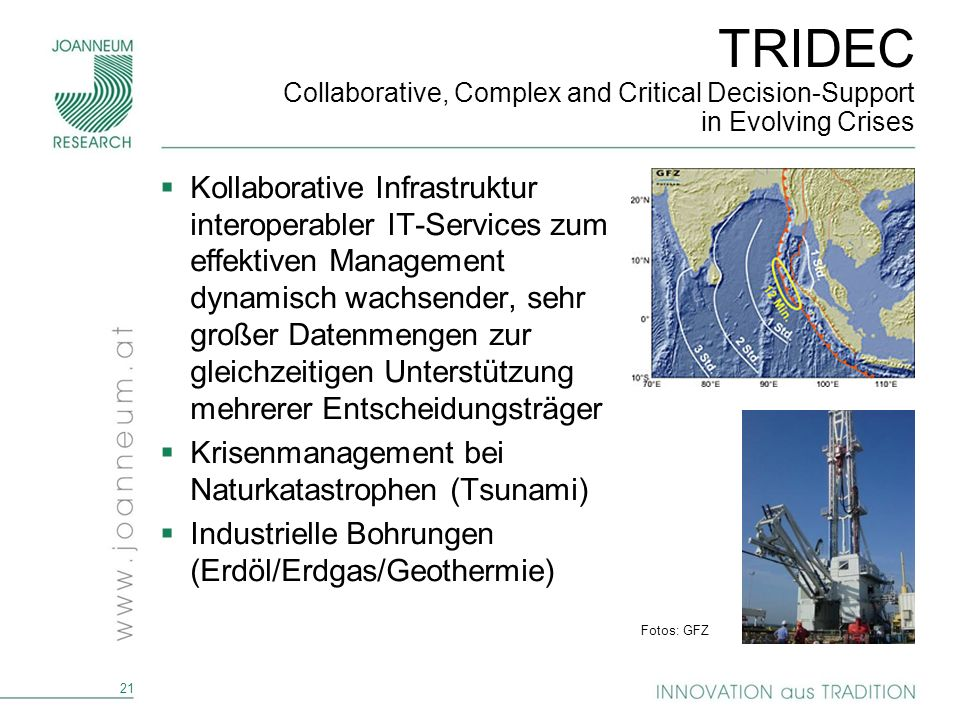 21 TRIDEC Collaborative, Complex and Critical Decision-Support in Evolving Crises Kollaborative Infrastruktur interoperabler IT-Services zum effektive