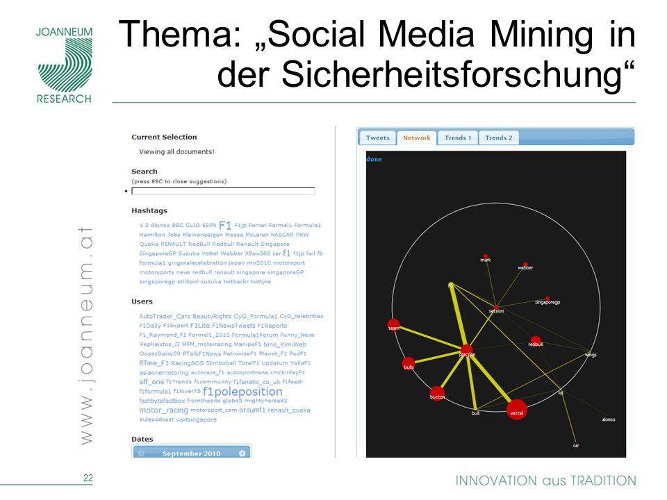 22 Thema: Social Media Mining in der Sicherheitsforschung