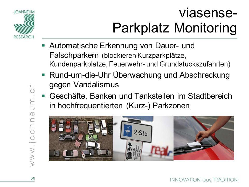 25 viasense- Parkplatz Monitoring Automatische Erkennung von Dauer- und Falschparkern (blockieren Kurzparkplätze, Kundenparkplätze, Feuerwehr- und Gru