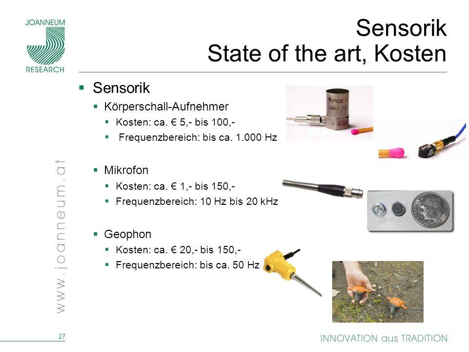 27 Sensorik State of the art, Kosten Sensorik Körperschall-Aufnehmer Kosten: ca. 5,- bis 100,- Frequenzbereich: bis ca. 1.000 Hz Mikrofon Kosten: ca.