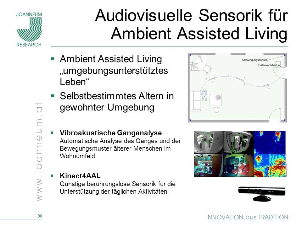 30 Audiovisuelle Sensorik für Ambient Assisted Living Ambient Assisted Living umgebungsunterstütztes Leben Selbstbestimmtes Altern in gewohnter Umgebu