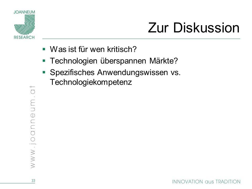 33 Zur Diskussion Was ist für wen kritisch? Technologien überspannen Märkte? Spezifisches Anwendungswissen vs. Technologiekompetenz