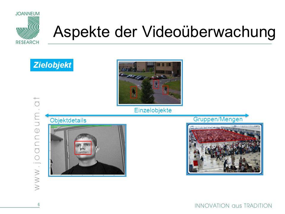 6 Zielobjekt Objektdetails Gruppen/Mengen Einzelobjekte Aspekte der Videoüberwachung