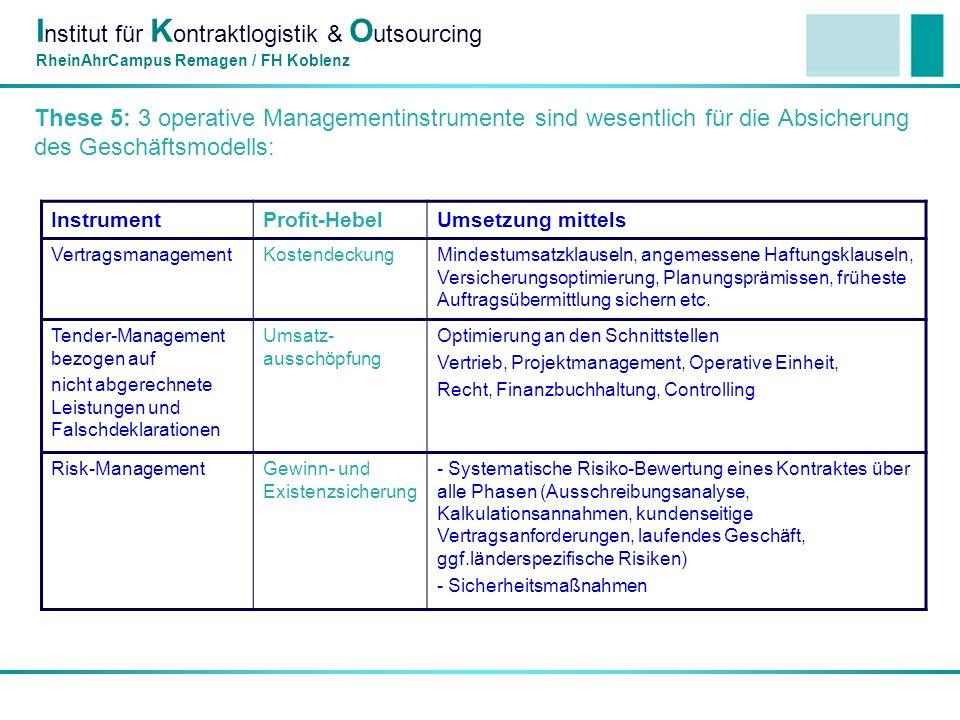 I nstitut für K ontraktlogistik & O utsourcing RheinAhrCampus Remagen / FH Koblenz These 5: 3 operative Managementinstrumente sind wesentlich für die