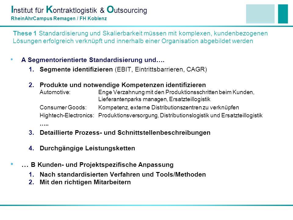 I nstitut für K ontraktlogistik & O utsourcing RheinAhrCampus Remagen / FH Koblenz These 1 Standardisierung und Skalierbarkeit müssen mit komplexen, kundenbezogenen Lösungen erfolgreich verknüpft und innerhalb einer Organisation abgebildet werden A Segmentorientierte Standardisierung und….