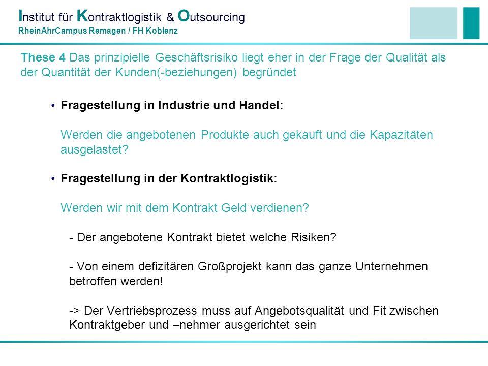 I nstitut für K ontraktlogistik & O utsourcing RheinAhrCampus Remagen / FH Koblenz These 5: 3 operative Managementinstrumente sind wesentlich für die Absicherung des Geschäftsmodells: InstrumentProfit-HebelUmsetzung mittels VertragsmanagementKostendeckungMindestumsatzklauseln, angemessene Haftungsklauseln, Versicherungsoptimierung, Planungsprämissen, früheste Auftragsübermittlung sichern etc.