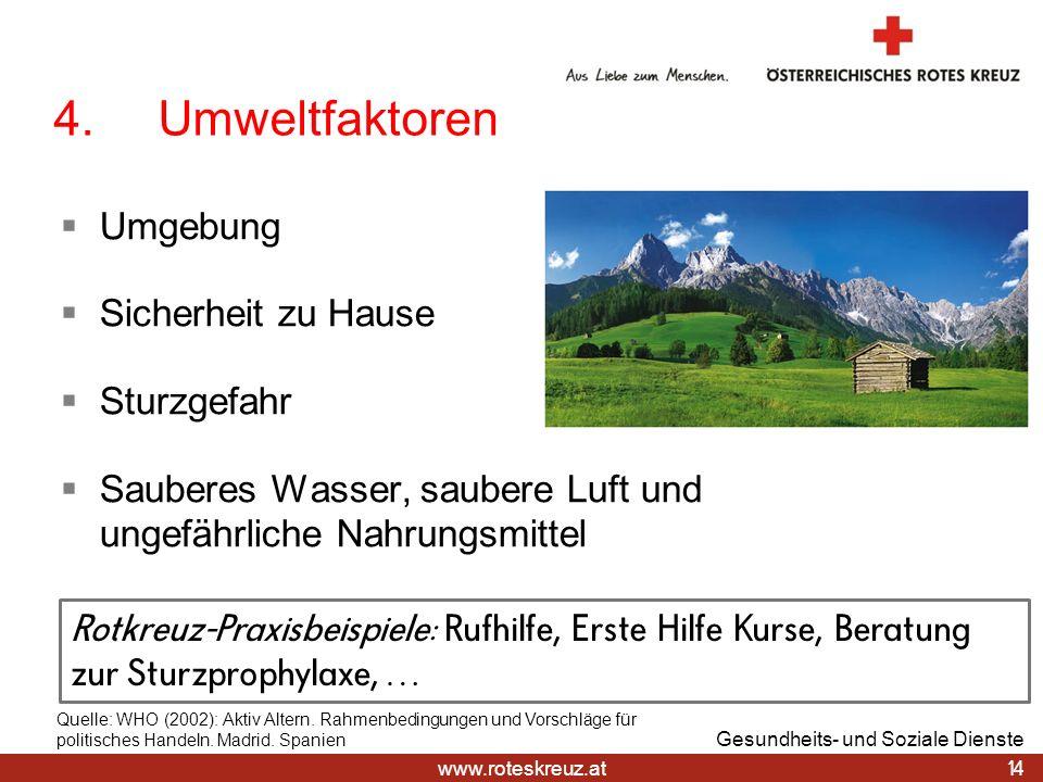 www.roteskreuz.at 4.Umweltfaktoren Umgebung Sicherheit zu Hause Sturzgefahr Sauberes Wasser, saubere Luft und ungefährliche Nahrungsmittel 14 Gesundhe