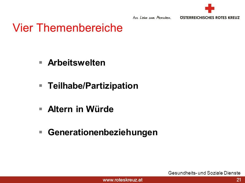 www.roteskreuz.at Vier Themenbereiche Arbeitswelten Teilhabe/Partizipation Altern in Würde Generationenbeziehungen 21 Gesundheits- und Soziale Dienste