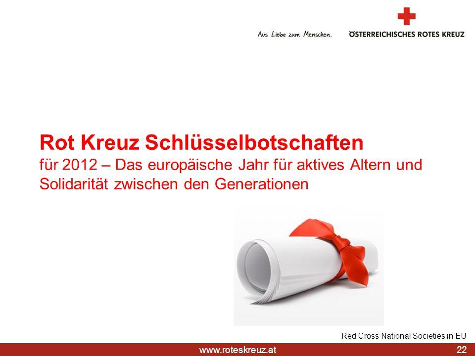 www.roteskreuz.at Rot Kreuz Schlüsselbotschaften für 2012 – Das europäische Jahr für aktives Altern und Solidarität zwischen den Generationen 22 Red C
