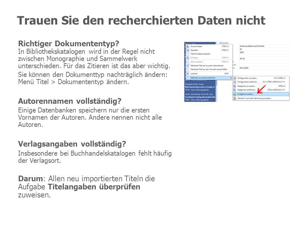 Trauen Sie den recherchierten Daten nicht Richtiger Dokumententyp? In Bibliothekskatalogen wird in der Regel nicht zwischen Monographie und Sammelwerk
