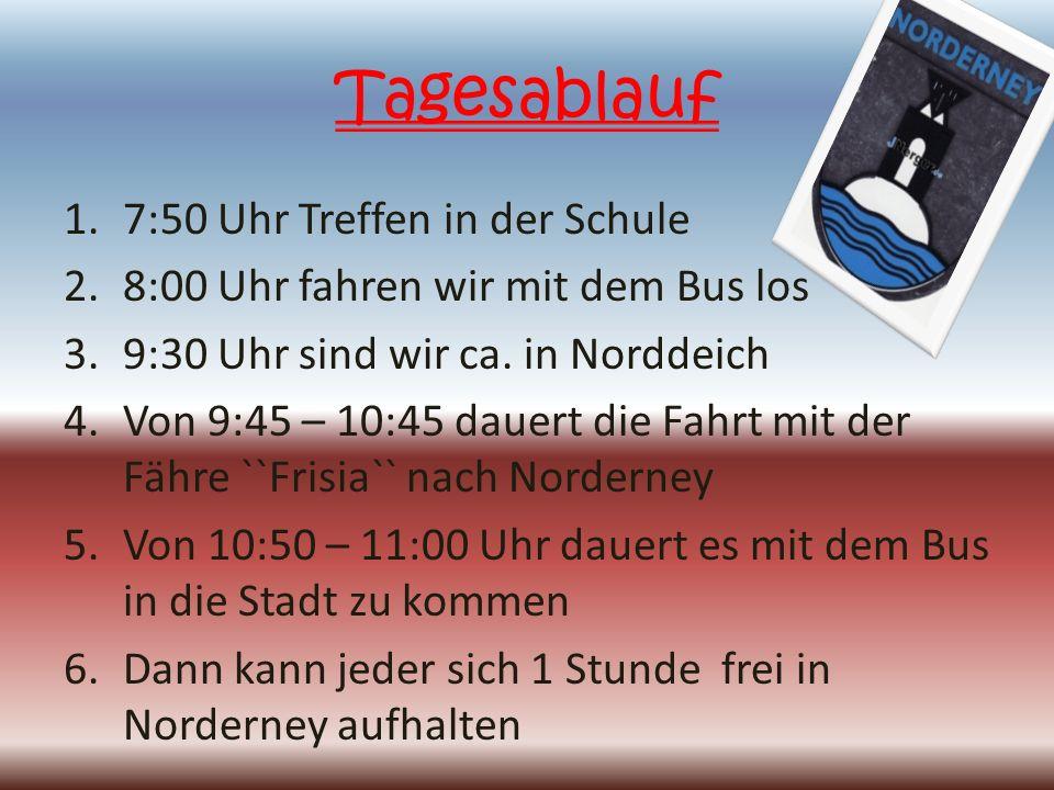 Tagesablauf 1.7:50 Uhr Treffen in der Schule 2.8:00 Uhr fahren wir mit dem Bus los 3.9:30 Uhr sind wir ca.