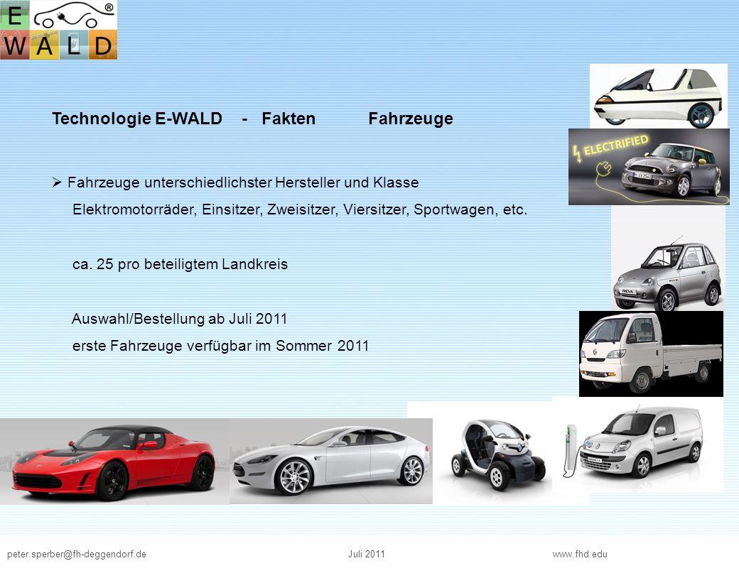 peter.sperber@fh-deggendorf.deJuli 2011 www.fhd.edu Technologie E-WALD - Fakten Fahrzeuge Fahrzeuge unterschiedlichster Hersteller und Klasse Elektrom