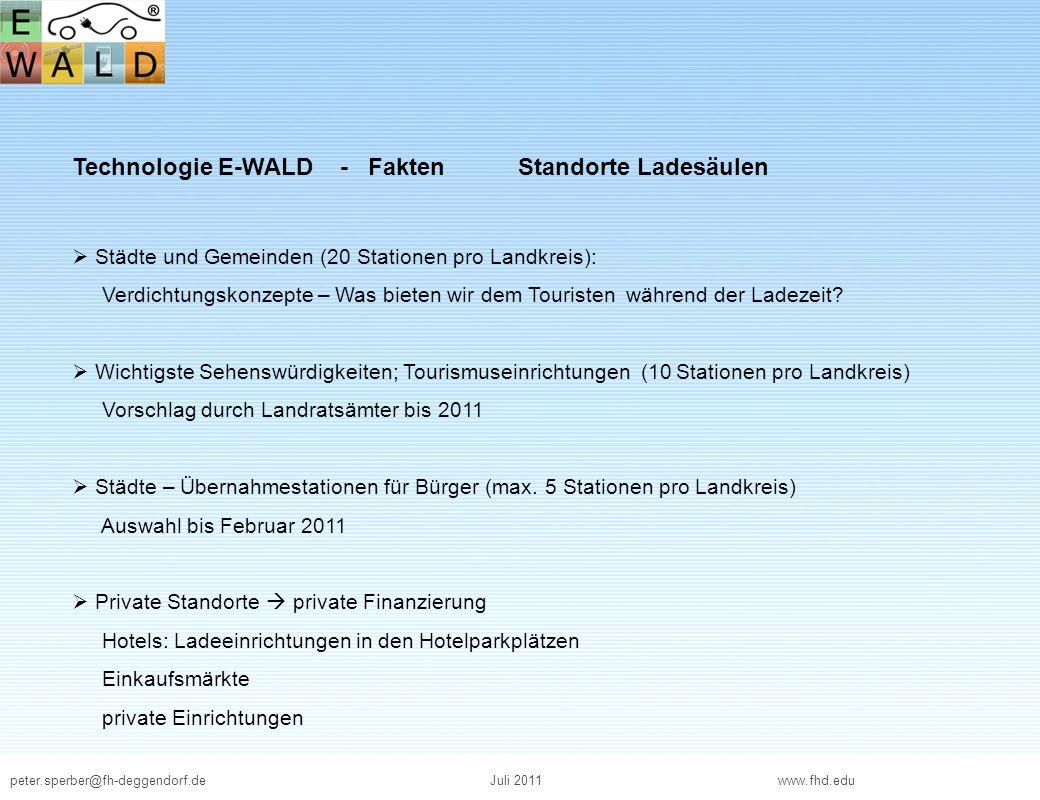peter.sperber@fh-deggendorf.deJuli 2011 www.fhd.edu Technologie E-WALD - Fakten Standorte Ladesäulen Städte und Gemeinden (20 Stationen pro Landkreis)