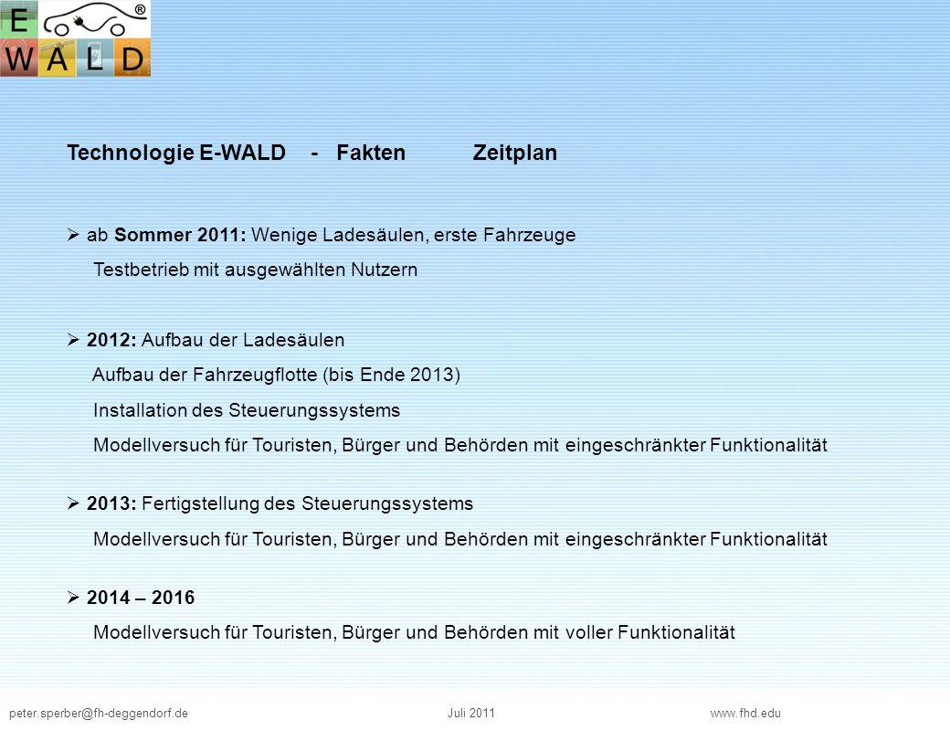 peter.sperber@fh-deggendorf.deJuli 2011 www.fhd.edu Technologie E-WALD - Fakten Finanzen Sechs Landkreise des Bayerischen Waldes: Freyung-Grafenau, Regen, Cham, Deggendorf, Passau und Straubing Kosten Geplante Gesamtkosten: ca.