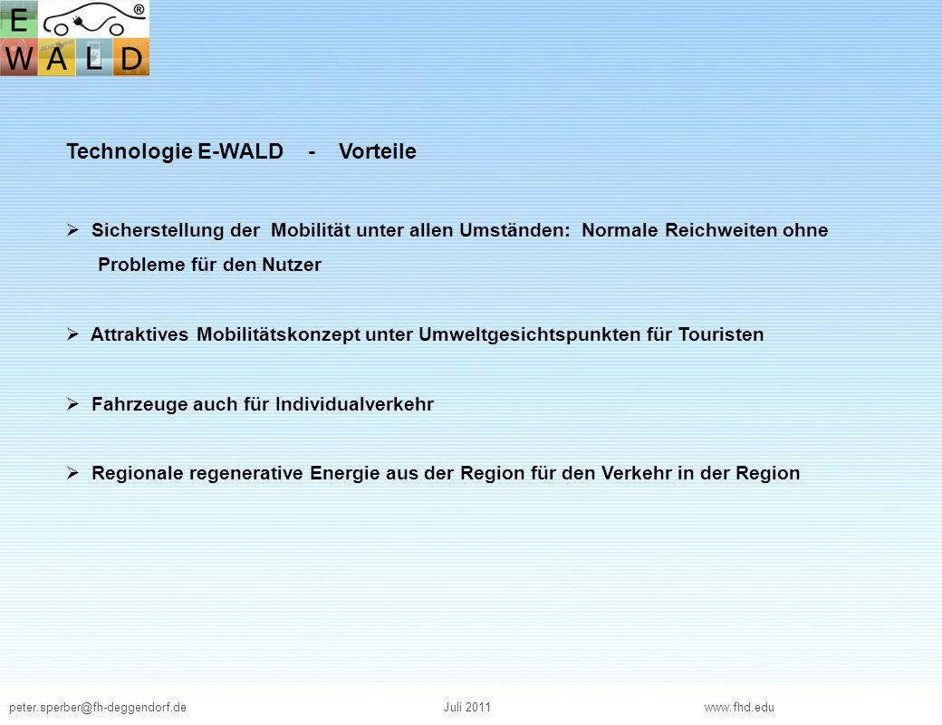 peter.sperber@fh-deggendorf.deJuli 2011 www.fhd.edu Technologie E-WALD - Vorteile Sicherstellung der Mobilität unter allen Umständen: Normale Reichwei