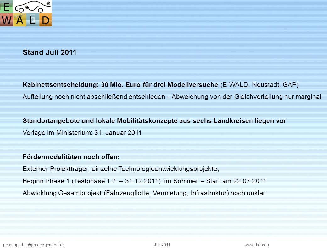 peter.sperber@fh-deggendorf.deJuli 2011 www.fhd.edu Stand Juli 2011 Kabinettsentscheidung: 30 Mio. Euro für drei Modellversuche (E-WALD, Neustadt, GAP