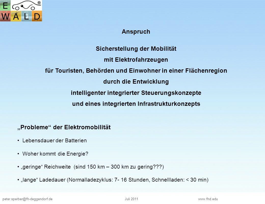 peter.sperber@fh-deggendorf.deJuli 2011 www.fhd.edu Anspruch Sicherstellung der Mobilität mit Elektrofahrzeugen für Touristen, Behörden und Einwohner