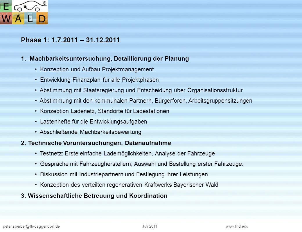 peter.sperber@fh-deggendorf.deJuli 2011 www.fhd.edu Phase 1: 1.7.2011 – 31.12.2011 1. Machbarkeitsuntersuchung, Detaillierung der Planung Konzeption u