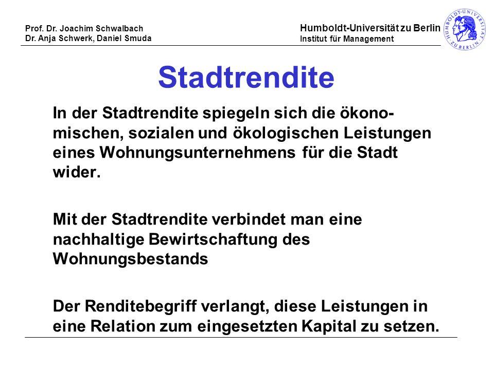 Prof. Dr. Joachim Schwalbach Dr. Anja Schwerk, Daniel Smuda Humboldt-Universität zu Berlin Institut für Management Stadtrendite In der Stadtrendite sp