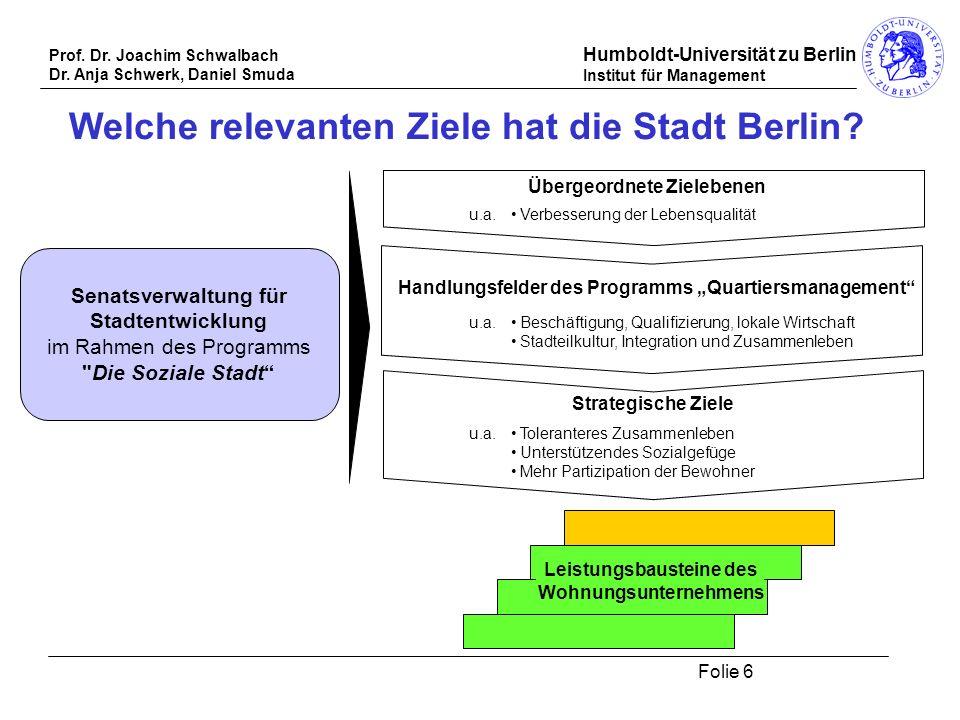 Prof. Dr. Joachim Schwalbach Dr. Anja Schwerk, Daniel Smuda Humboldt-Universität zu Berlin Institut für Management Folie 6 Welche relevanten Ziele hat