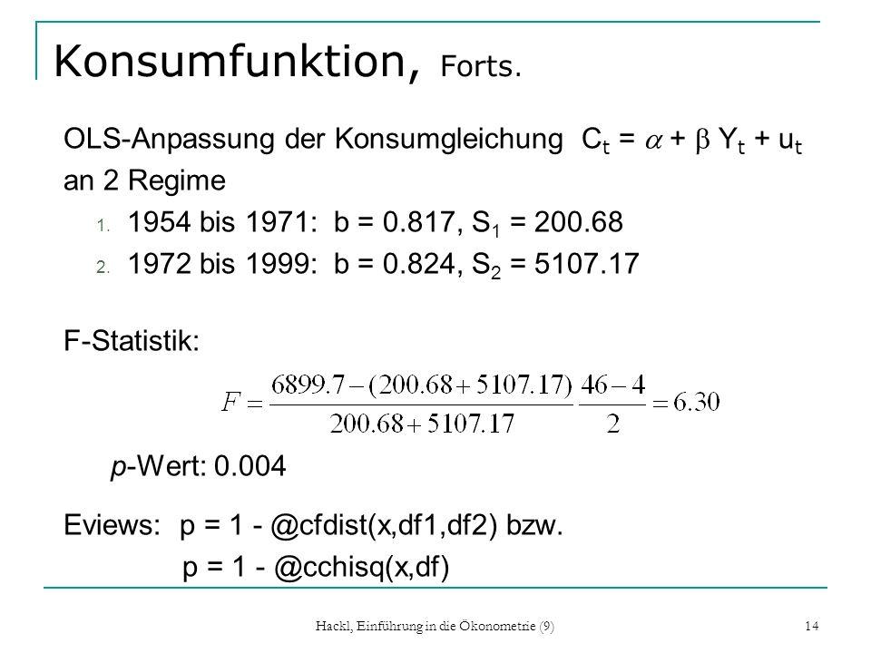 Hackl, Einführung in die Ökonometrie (9) 14 Konsumfunktion, Forts. OLS-Anpassung der Konsumgleichung C t = + Y t + u t an 2 Regime 1. 1954 bis 1971: b