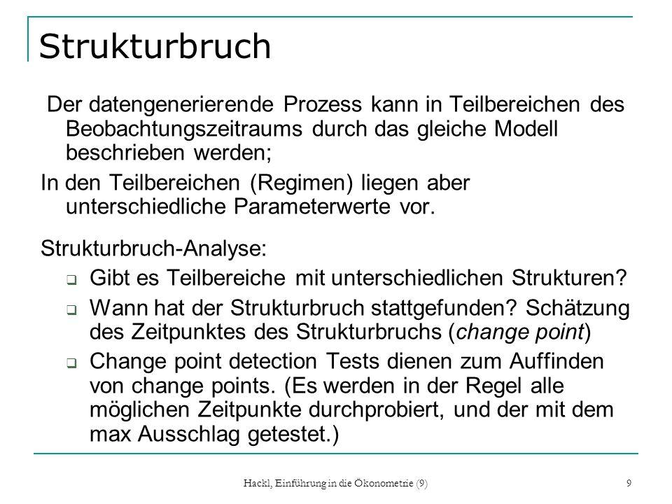 Hackl, Einführung in die Ökonometrie (9) 9 Strukturbruch Der datengenerierende Prozess kann in Teilbereichen des Beobachtungszeitraums durch das gleiche Modell beschrieben werden; In den Teilbereichen (Regimen) liegen aber unterschiedliche Parameterwerte vor.