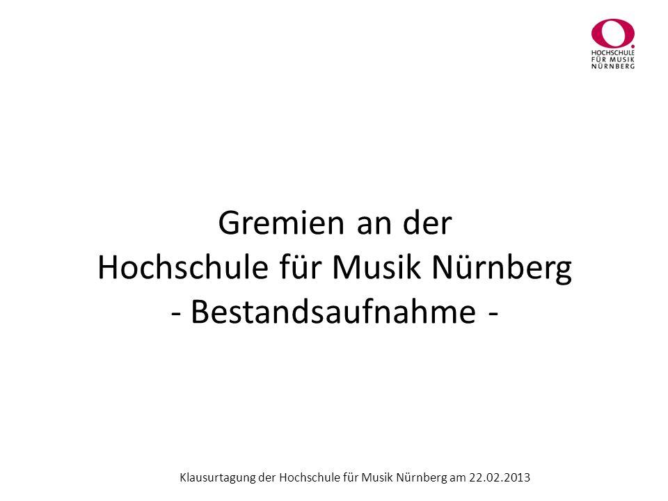 Gremien an der Hochschule für Musik Nürnberg - Bestandsaufnahme - Klausurtagung der Hochschule für Musik Nürnberg am 22.02.2013