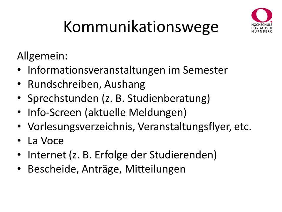 Kommunikationswege Allgemein: Informationsveranstaltungen im Semester Rundschreiben, Aushang Sprechstunden (z.