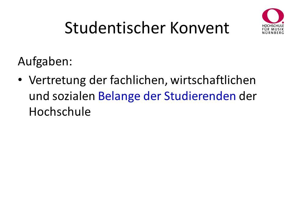 Studentischer Konvent Aufgaben: Vertretung der fachlichen, wirtschaftlichen und sozialen Belange der Studierenden der Hochschule