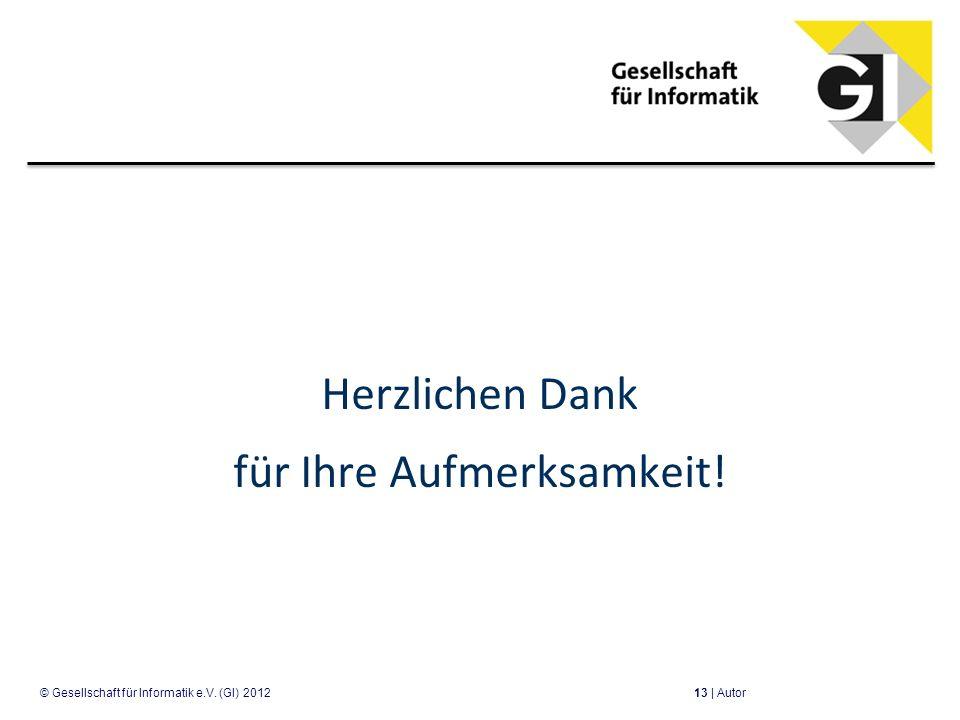Herzlichen Dank für Ihre Aufmerksamkeit! 13 | Autor© Gesellschaft für Informatik e.V. (GI) 2012