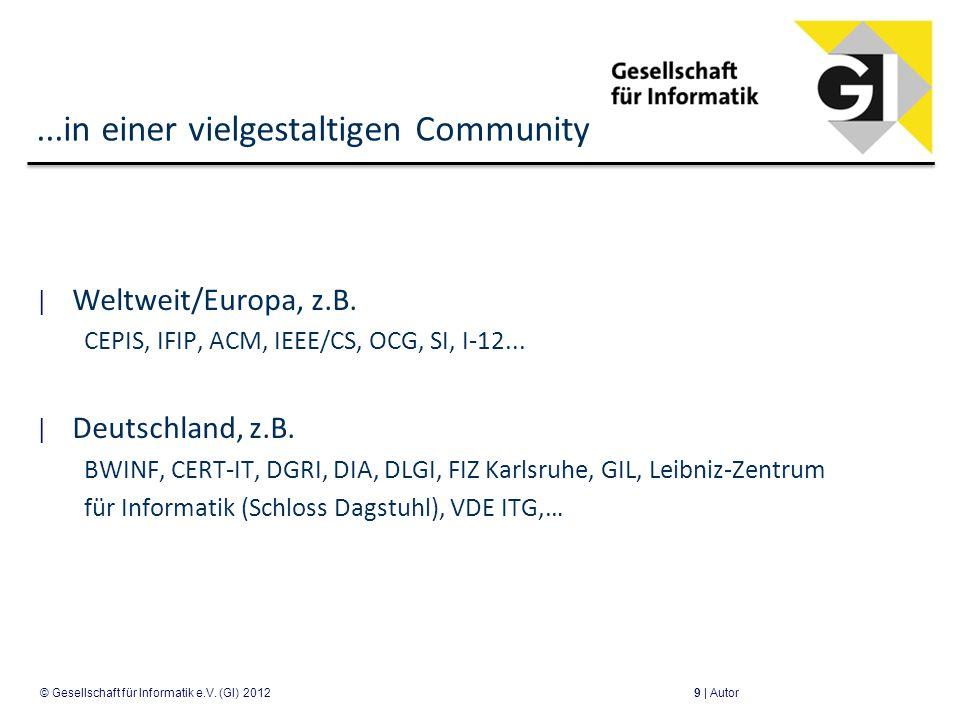 ...in einer vielgestaltigen Community Weltweit/Europa, z.B. CEPIS, IFIP, ACM, IEEE/CS, OCG, SI, I-12... Deutschland, z.B. BWINF, CERT-IT, DGRI, DIA, D