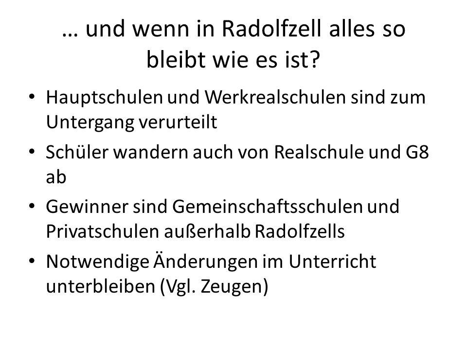 … und wenn in Radolfzell alles so bleibt wie es ist? Hauptschulen und Werkrealschulen sind zum Untergang verurteilt Schüler wandern auch von Realschul