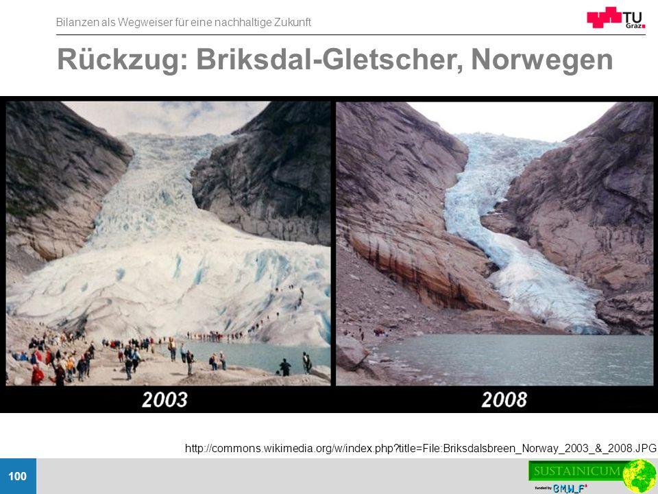 Bilanzen als Wegweiser für eine nachhaltige Zukunft 100 Rückzug: Briksdal-Gletscher, Norwegen http://commons.wikimedia.org/w/index.php?title=File:Brik
