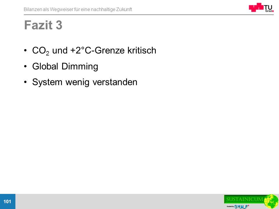 Bilanzen als Wegweiser für eine nachhaltige Zukunft 101 Fazit 3 CO 2 und +2°C-Grenze kritisch Global Dimming System wenig verstanden