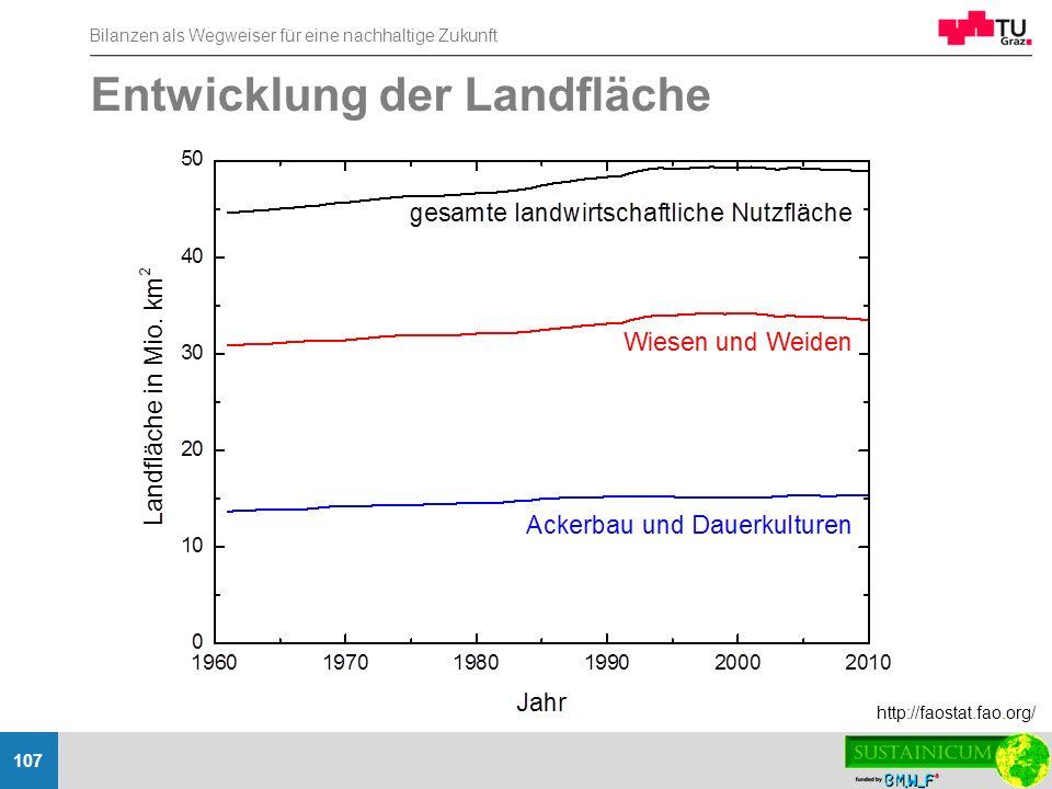 Bilanzen als Wegweiser für eine nachhaltige Zukunft 107 Entwicklung der Landfläche http://faostat.fao.org/